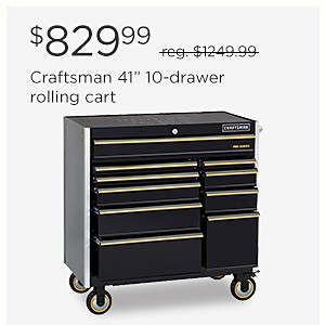 "$829.99 Craftsman 41"" 10 drawer rolling cart"