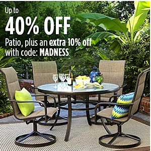Up to 40% off patio furniture plus an extra 10% off with code: SPRING