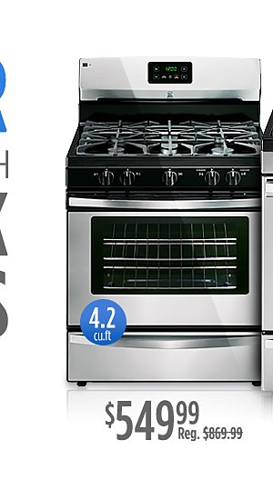 Go Bigger $649.99 Kenmore gas range upgrade with more capacity 5.0 cu ft. plus get $150 CASHBACK in points*