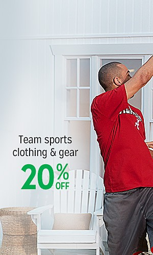 Team sports clothing & gear, 20% off