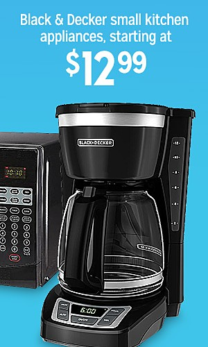 Black & Decker small kitchen appliances, starting at $12.99