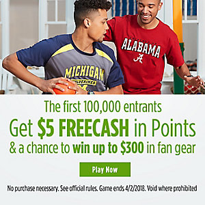 $5 FREECASH in Points & a chance to win up to $300 in fan gear