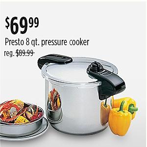 Presto 8qt Stainless Steel Pressure Cooker $69.99 | Reg. $89.99