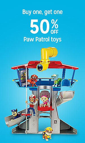 Buy one, get one 50% off Paw Patrol toys