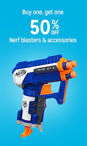 Buy one, get one 50% off Nerf blasters & accessories