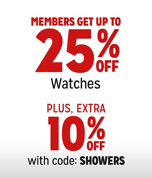 Up to 25% Off Watches + Extra 10% Off with Code: SHOWERS