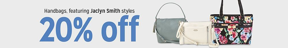 20% off handbags featuring Jaclyn Smith styles