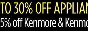 Up to 30% off appliances, extra 15% off on Kenmore & Kenmore Elite