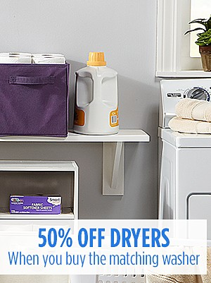 Buy a washer, get 50% off the matching dryer