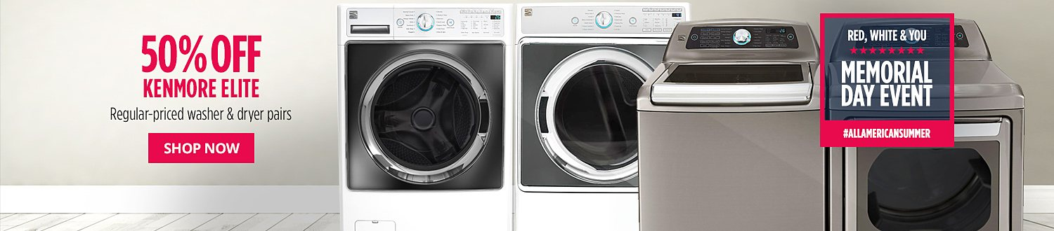 50% off Kenmore Elite regular-priced washer & dryer pairs
