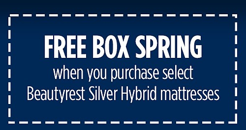 FREE BOX SPRING when you purchase select Beautyrest Silver Hybrid mattresses