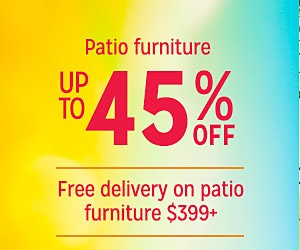 Up to 45% off Patio Furniture plus, Extra 10% off w/code:SUNSHINE | Free delivery on $399+