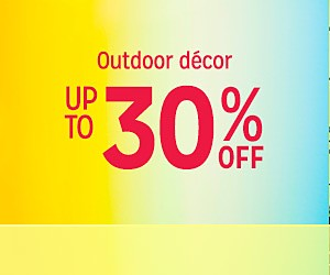 Up to 30% off Outdoor Decor + extra 10% off w/code:SUNSHINE