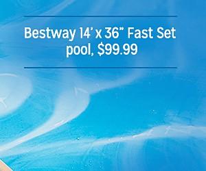 """Bestway 14' x 36"""" Fast Set pool, $99.99"""