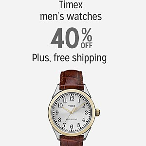 Timex men's watches, 40% off | plus, free shipping