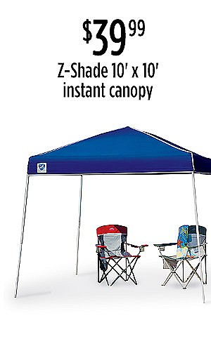 Z-Shade 10' x 10' Instant Canopy, $39.99