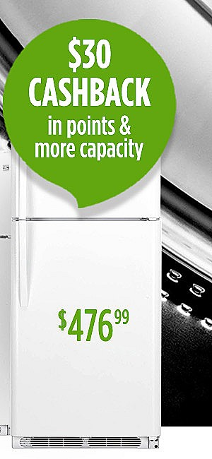 trade up to $476.99 Kenmore 20.4 cu ft. Refrigerator + $30 CASHBACK in points