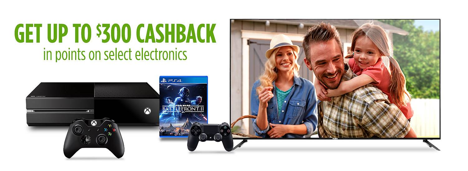 Get up to  $300 CASHBACK in points on select electronics