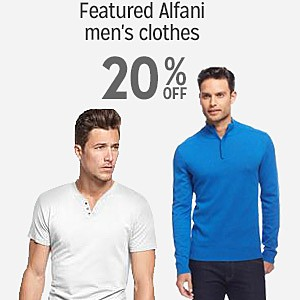 20% off & more on select Alfani Men's Clothing