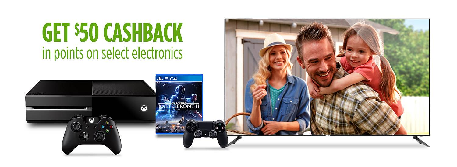 Get $50 CASHBACK in points on select electronics