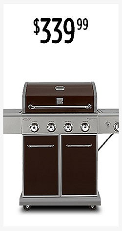 $339.99 | Kenmore 4-Burner LP Gas Grill with Searing Side Burner - Mocha