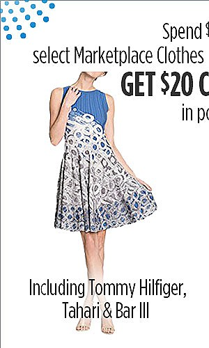 $20 CASHBACK when you spend $40 on select Marketplace Clothing & Shoes  Clothing including Brands - Tommy Hilfiger, Tahari & Bar III