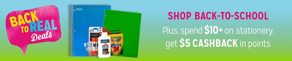 Spend $10 on back to school stationery, get $5 CASHBACK in points