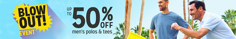 Up to 50% off men's polos & tees