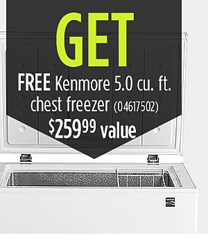 Buy: Kenmore Elite 73157 28.7 cu. ft. French Door Bottom Freezer Refrigerator – Black Stainless Get: *Kenmore 17502 5.0 cu. ft. Chest Freezer - White *- Value $259.99