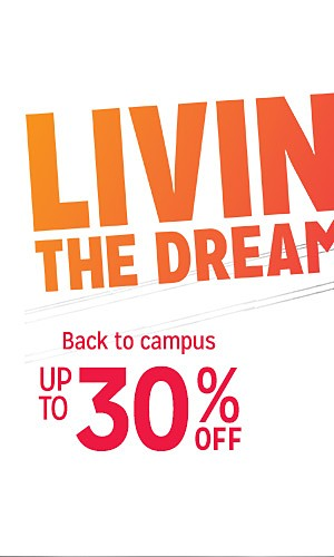 Back to campus, up to 30% off