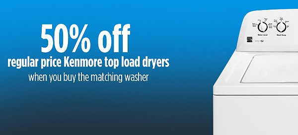50% Off Kenmore Dryers when you buy the matching top-load washer