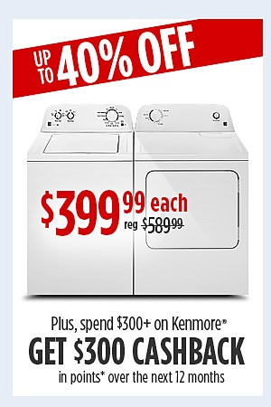 Kenmore 3.5 cu. ft. washer & 6.5 cu. ft. dryer $399.99 each