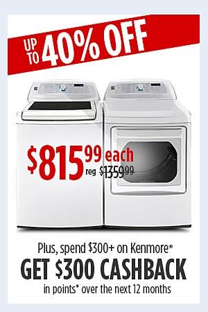 Kenmore Elite 5.2 cu. ft. washer & 7.3 cu. ft. dryer $815.99 each