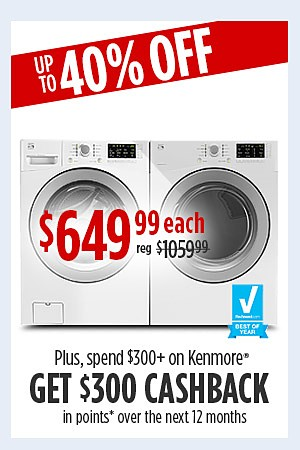 Kenmore 4.5 cu. ft. washer & 7.4 cu. ft. dryer $649.99 each