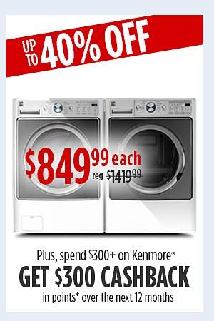 Kenmore Elite 4.5 cu. ft. Washer & 7.4 cu. ft. dryer $849.99 each