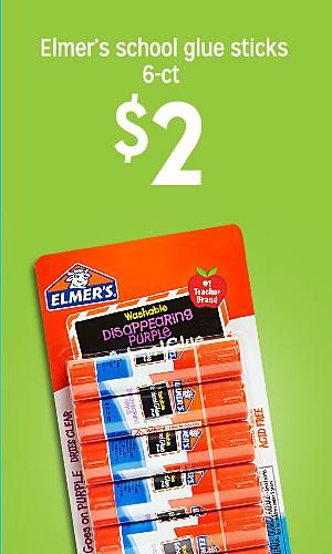Elmer's school glue sticks 6-ct, $2