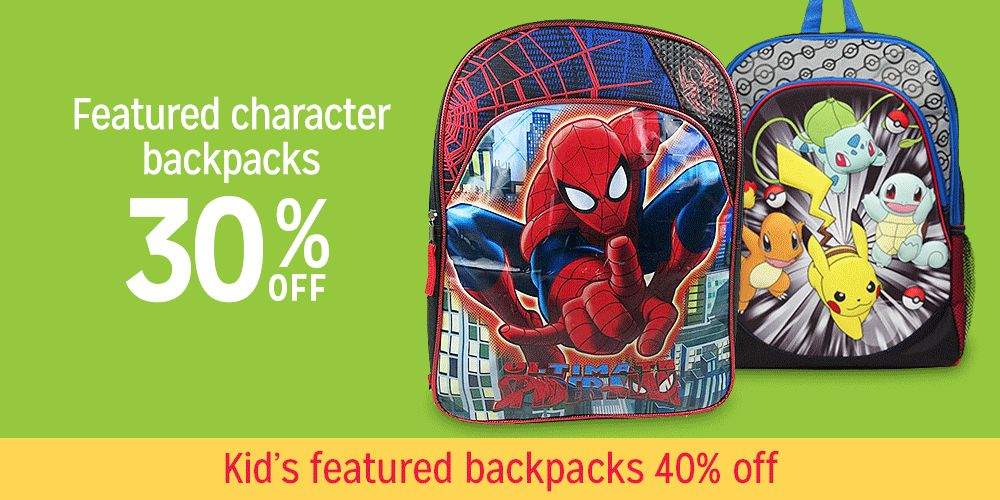30% off Character backpacks 40% off kids backpacks