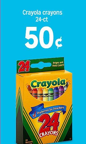 Crayola Crayons 24-pk 50¢