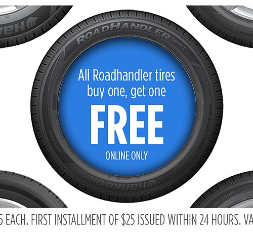 All Roadhandler tires Buy one, get one FREE
