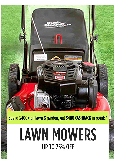Up to 25% off lawn mowers
