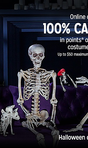 100% CASHBACK in points on qualifying Halloween costume & decor purchases   up to 30% off Halloween decor