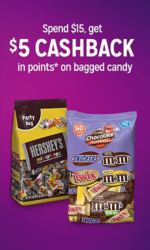 Spend $15, get $5 CASHBACK in points on bagged candy