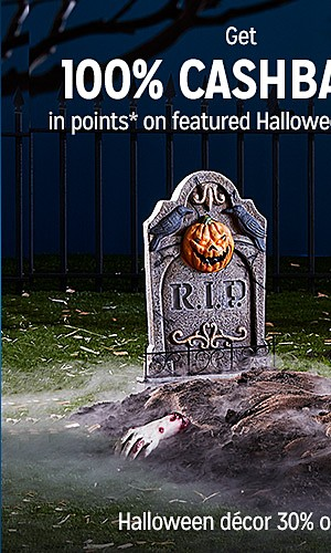 Get 100% CASHBACK in points on featured Halloween decor