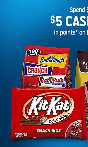 Spend $15, get $5 CASBACK in points on bagged candy