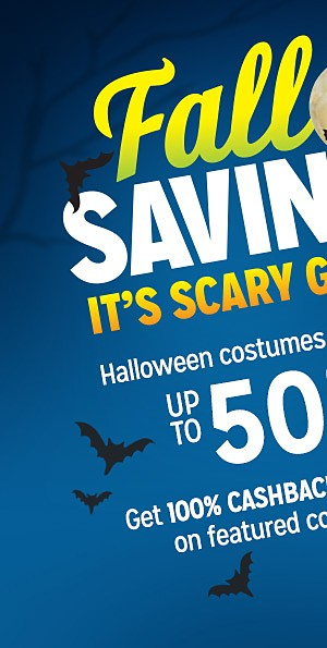 Halloween costumes & decor, up to 50% off