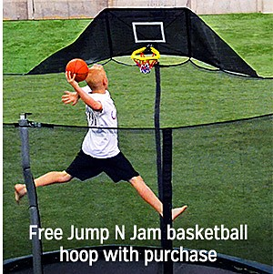 $249.99 15' Trampoline with enclosure PLUS FREE GIFT with purchase Propel Jump N Jam Basketball hoop