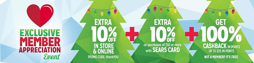 extra 10% off sitewide with code thankYOU  + extra 10% off purchases $50+ with Sears Card + get 100% CASHBACK in points up to $25