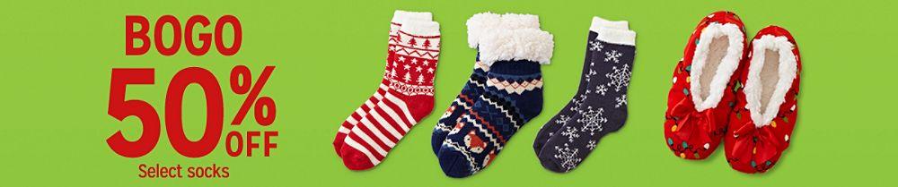 BOGO 50% off Select socks