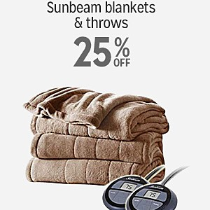 25% off Sunbeam blankets & throws