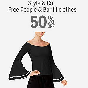 50% off and more on Style & Co., Free People & Bar III Clothing